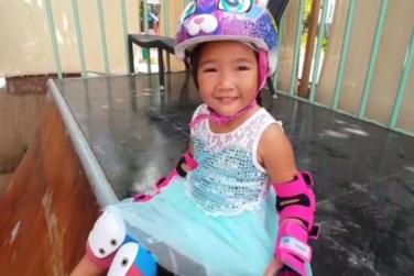 3 Year Old Girl Shows off Skateboarding Skills!